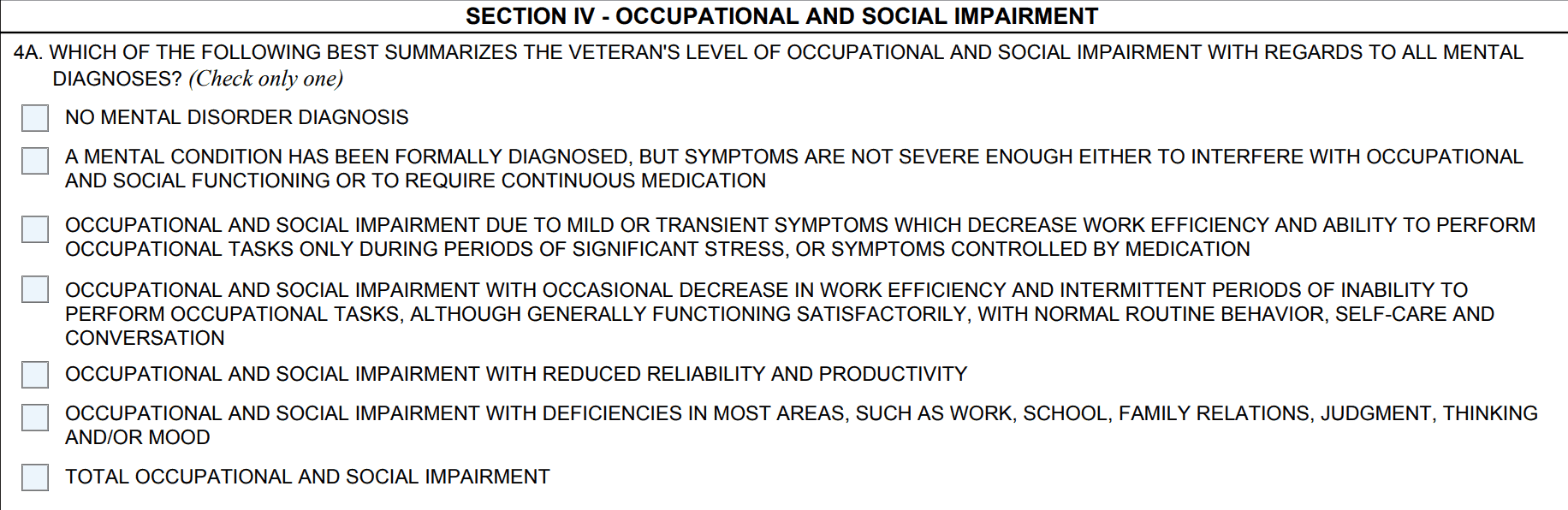 Occupational and Social Impairment on the PTSD DBQ