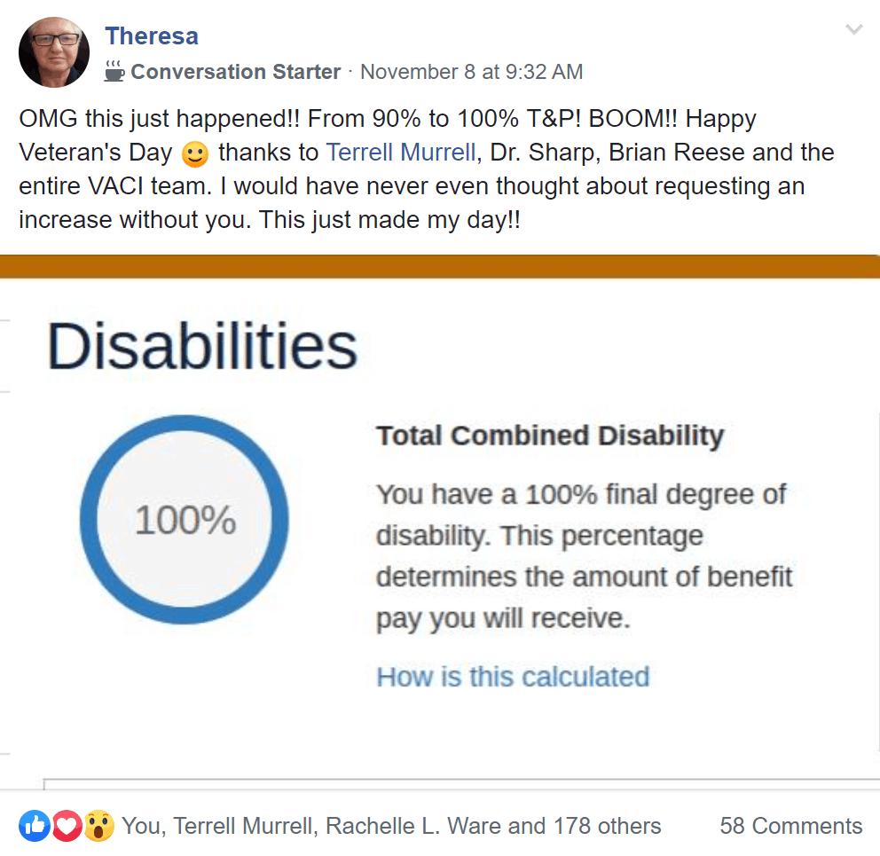 total combined disability