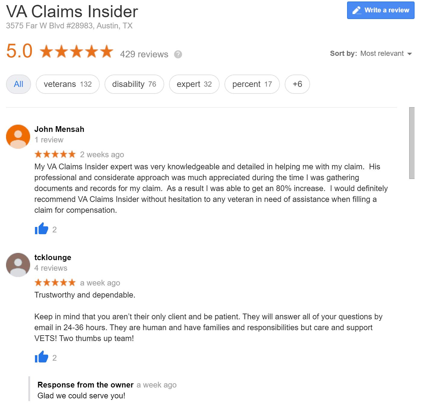 Honest VA Claims Insider Reviews VA Claims Insider Google Reviews 1