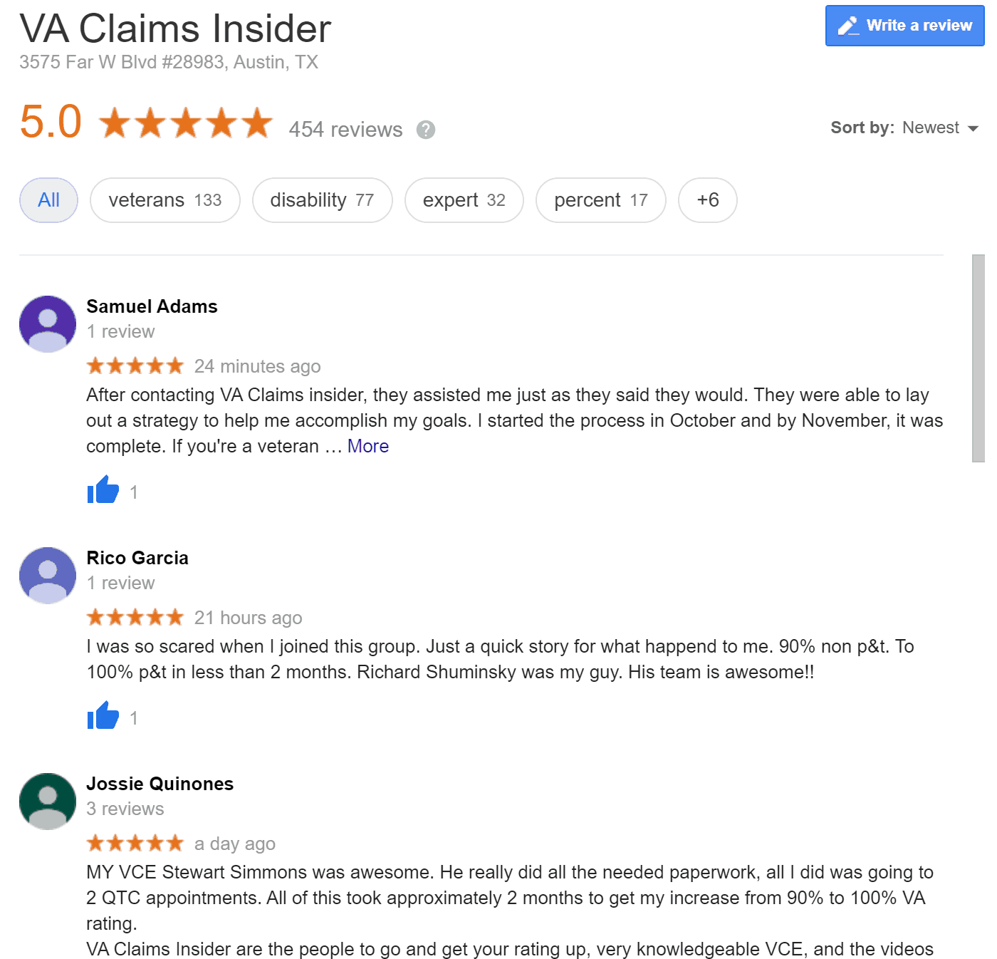 VA Claims Insider Google Reviews