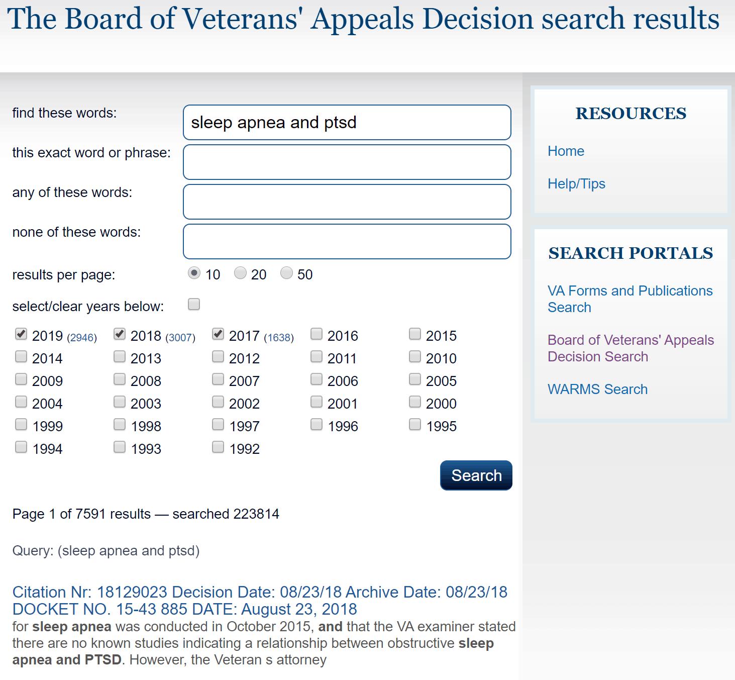 BVA Case Decision Search Example