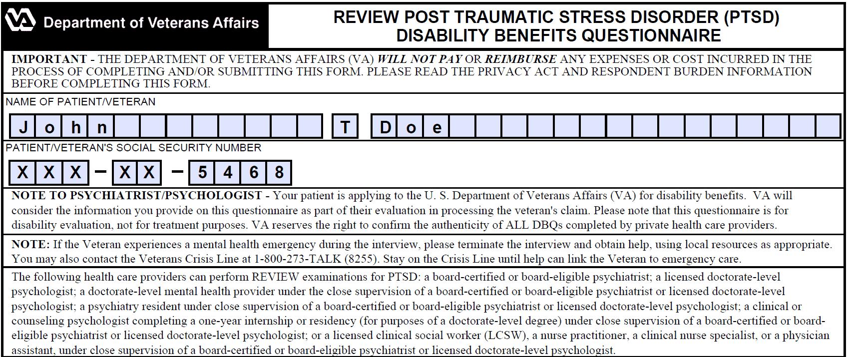 PTSD DBQ Review Form