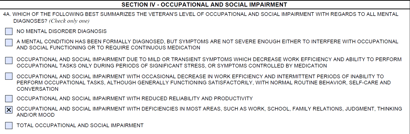 PTSD Review DBQ - Occupational and Social Impairment