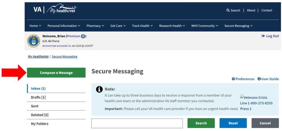 MyHealtheVet Secure Messenging Service
