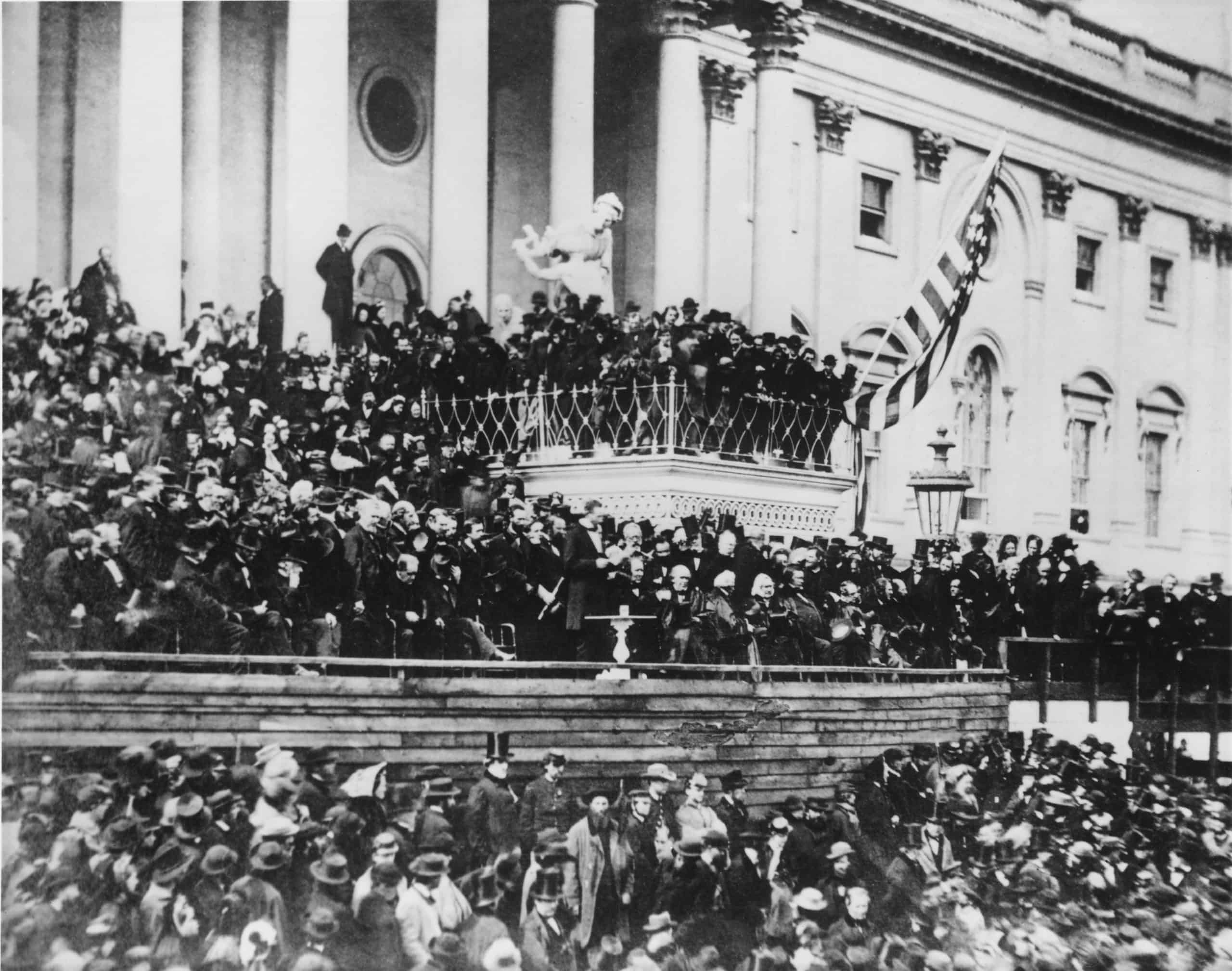 "WHY VA? The History of VA and its Legacy of ""Serving Those Who Served"" Abraham Lincolns delivering his second inaugural address standing center on the east portico of the U.S. Capitol March 4 1865 his second inauguration. scaled"