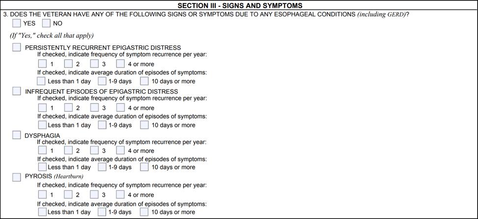 GERD DBQ Symptoms