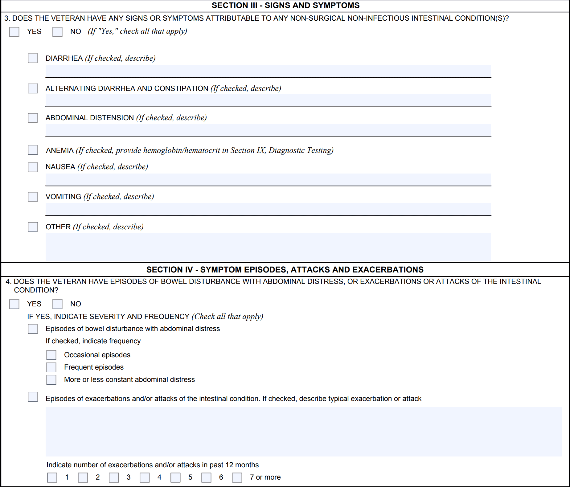 VA Ratings for IBS Symptoms List