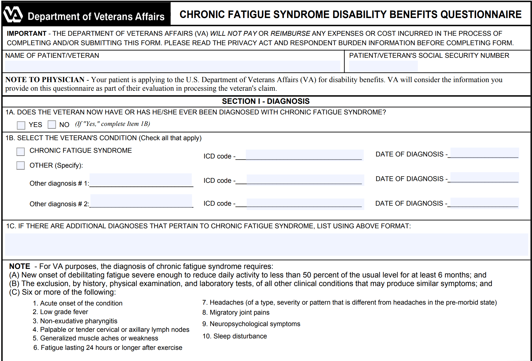 DBQ for Chronic Fatigue Syndrome