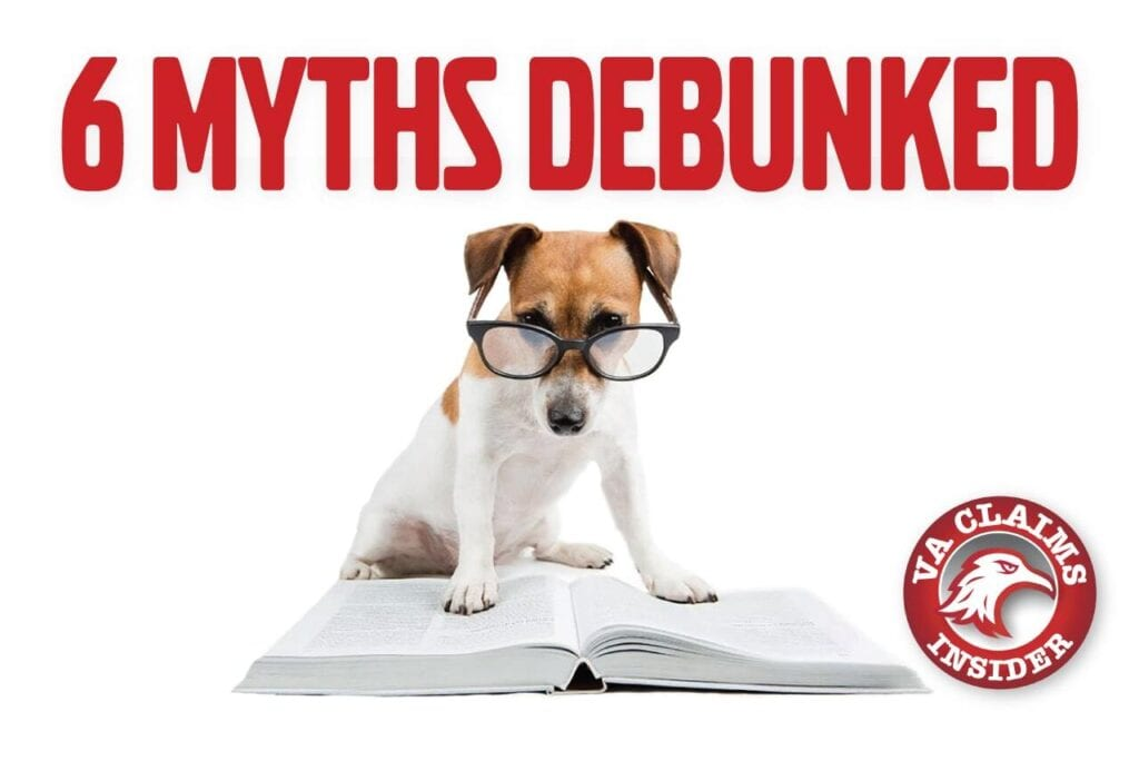 cute dog wearing glasses looking at a book with the text 6 myths debunked