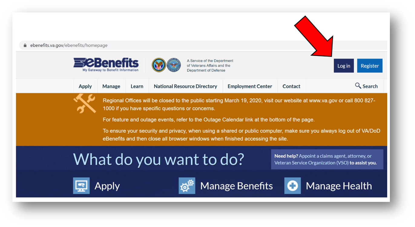 Click Login on eBenefits Homepage in the top right corner of the page.