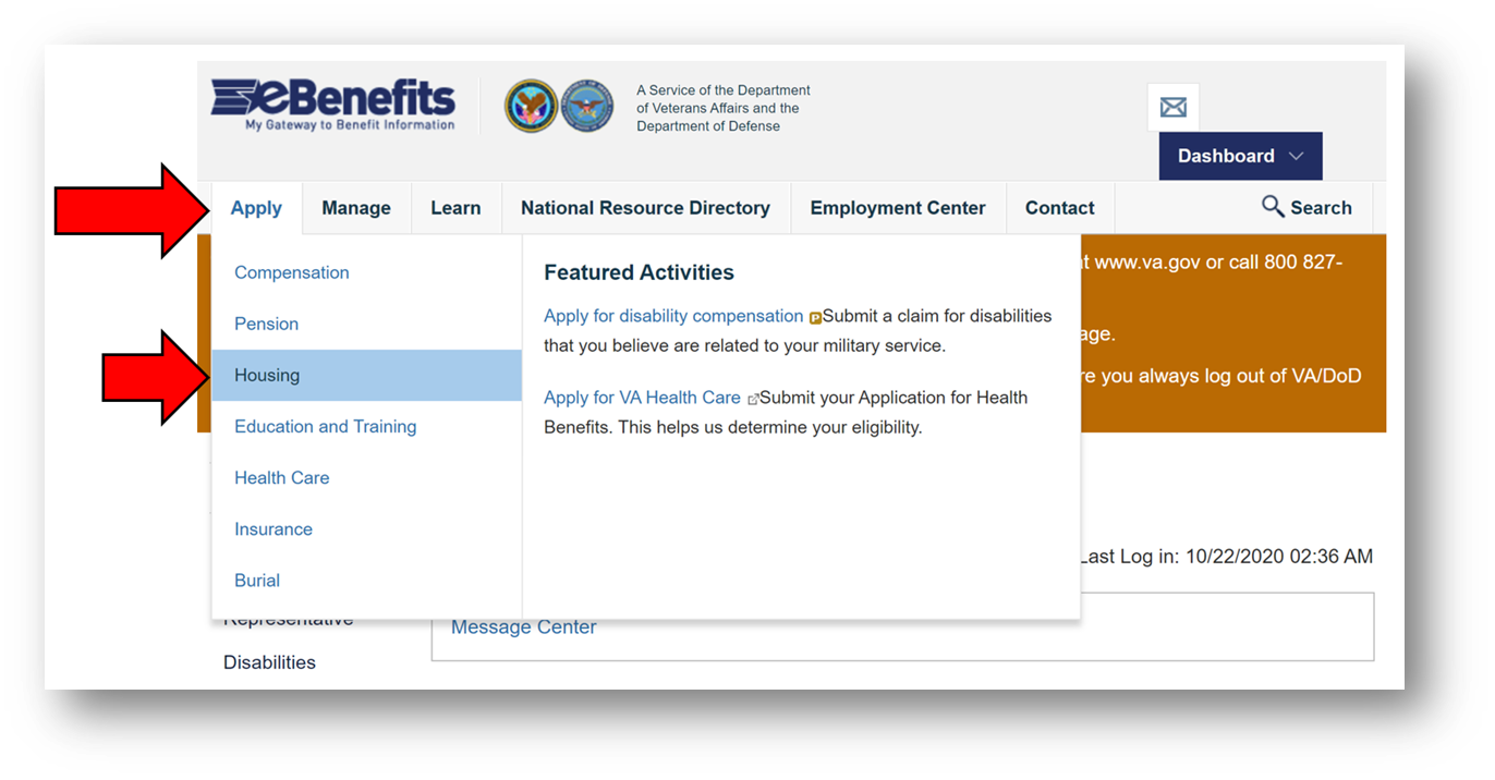 How to get VA COE hover over Apply and click Housing