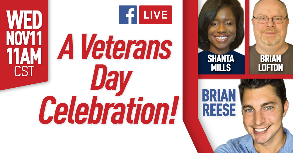VA Claims Insider Founder & CEO, Brian Reese, and Veteran Coaches Shanta Mills and Brian Lofton, will be going Live on Facebook for Veterans Day, November 11th, 2020 at 11am CST.