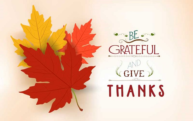 Leaves and words, be grateful and give thanks