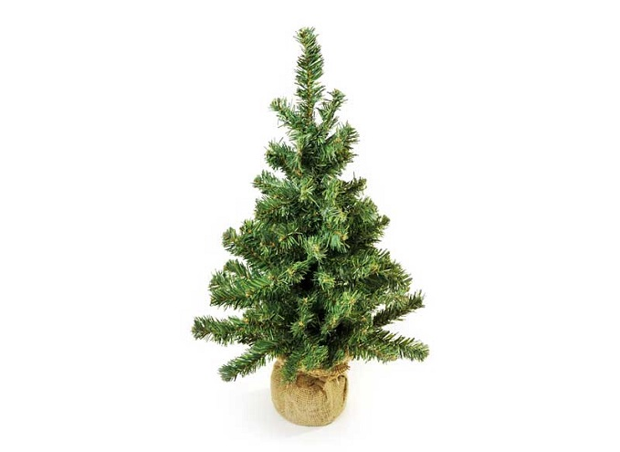 Christmas tree in burlap sack