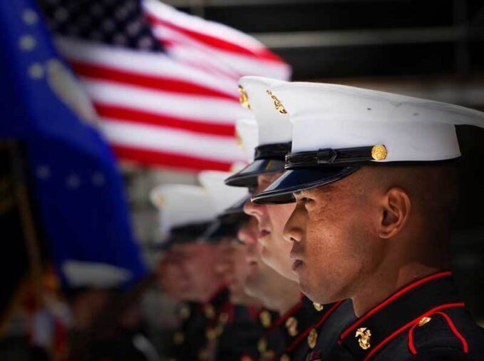 Marines standing at attention