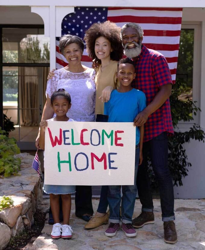 Family of a service member welcomes them home having discussed what to say to a Veteran on Veterans Day