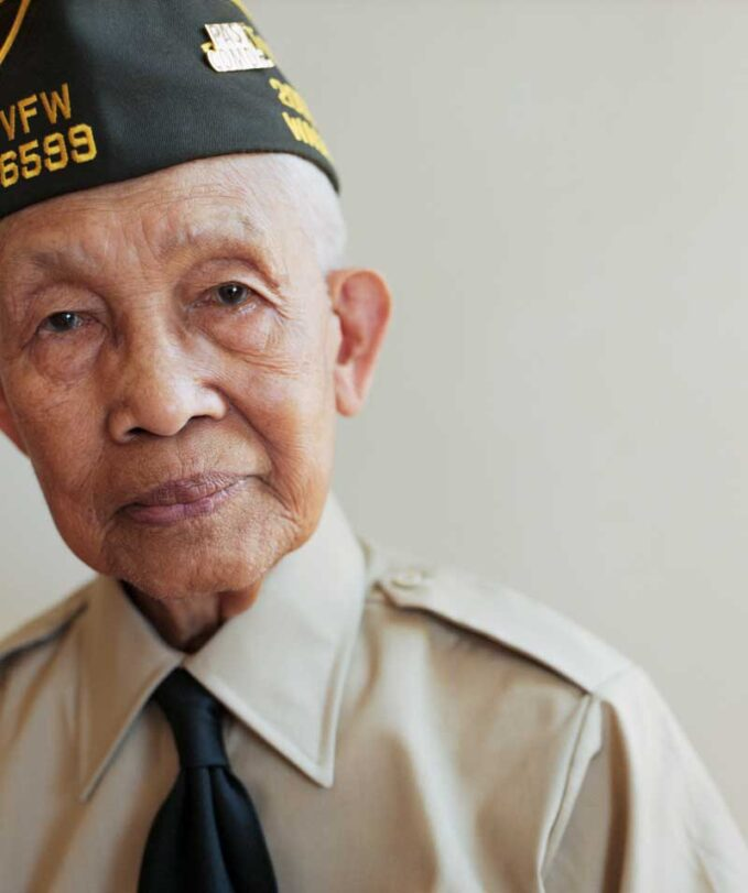A WWII Veteran looking at the camera