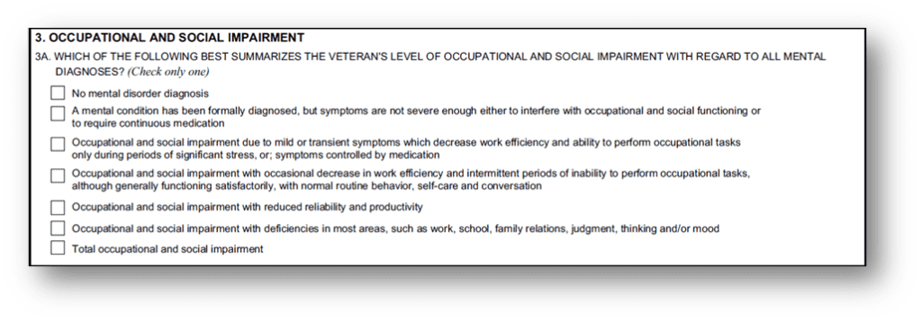 Anxiety DBQ Occupational and Social Impairment