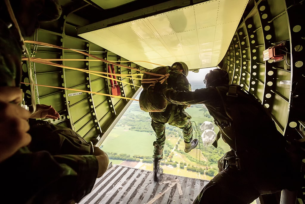 Paratrooper Jumping Out of Plane
