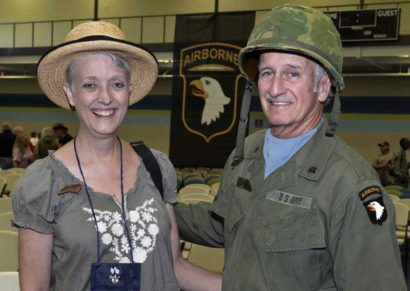 couple at military gathering
