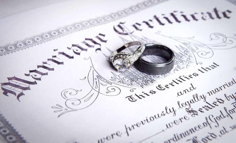 marriage certificate wedding rings