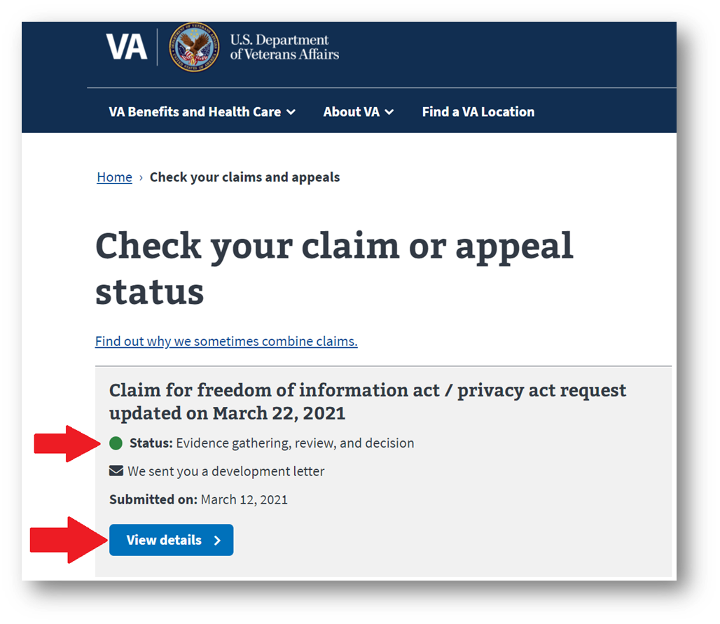 Check Your VA Claim or Appeal Status Online Tool
