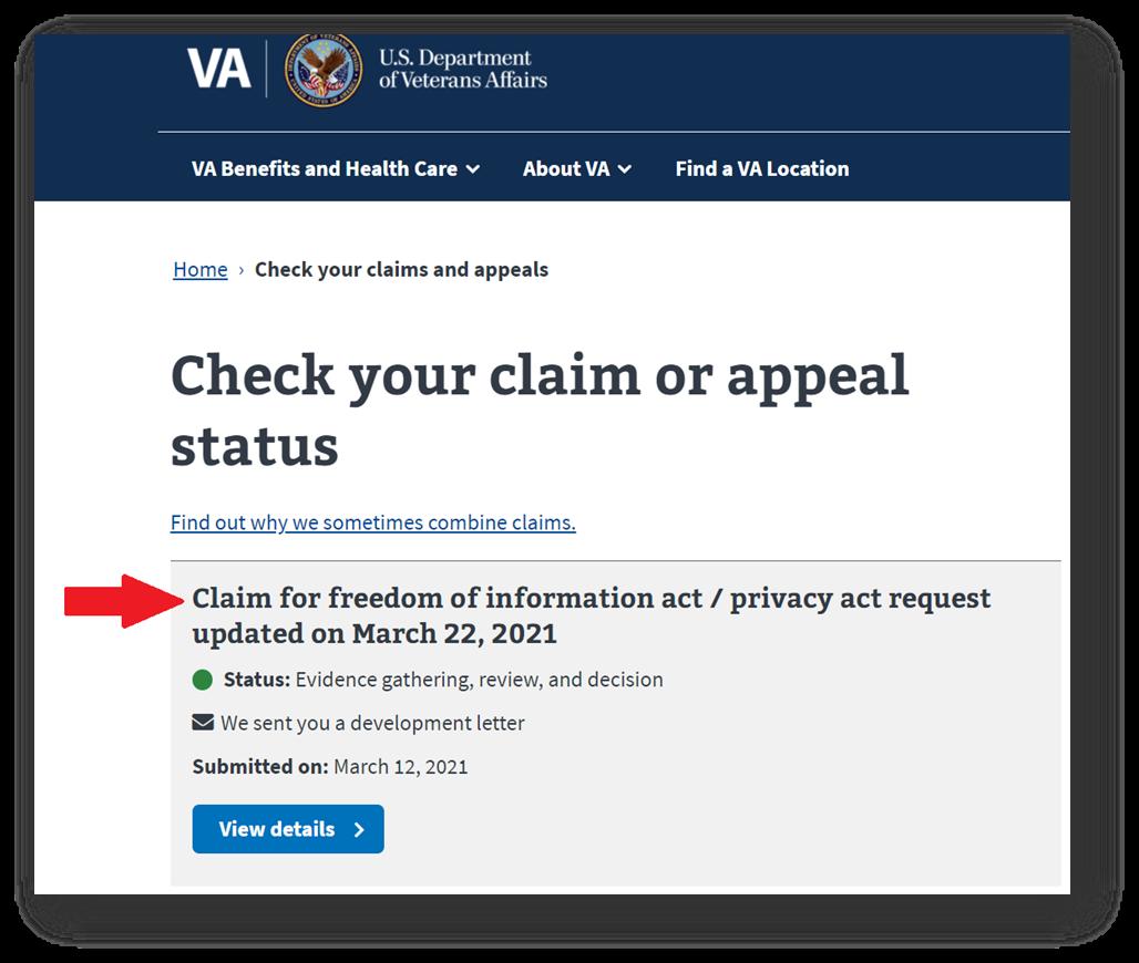 Your VA C File Request and Current Status Will Show Up in VA.gov