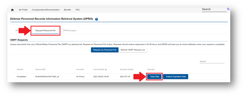 DPRIS Download Military Personnel File