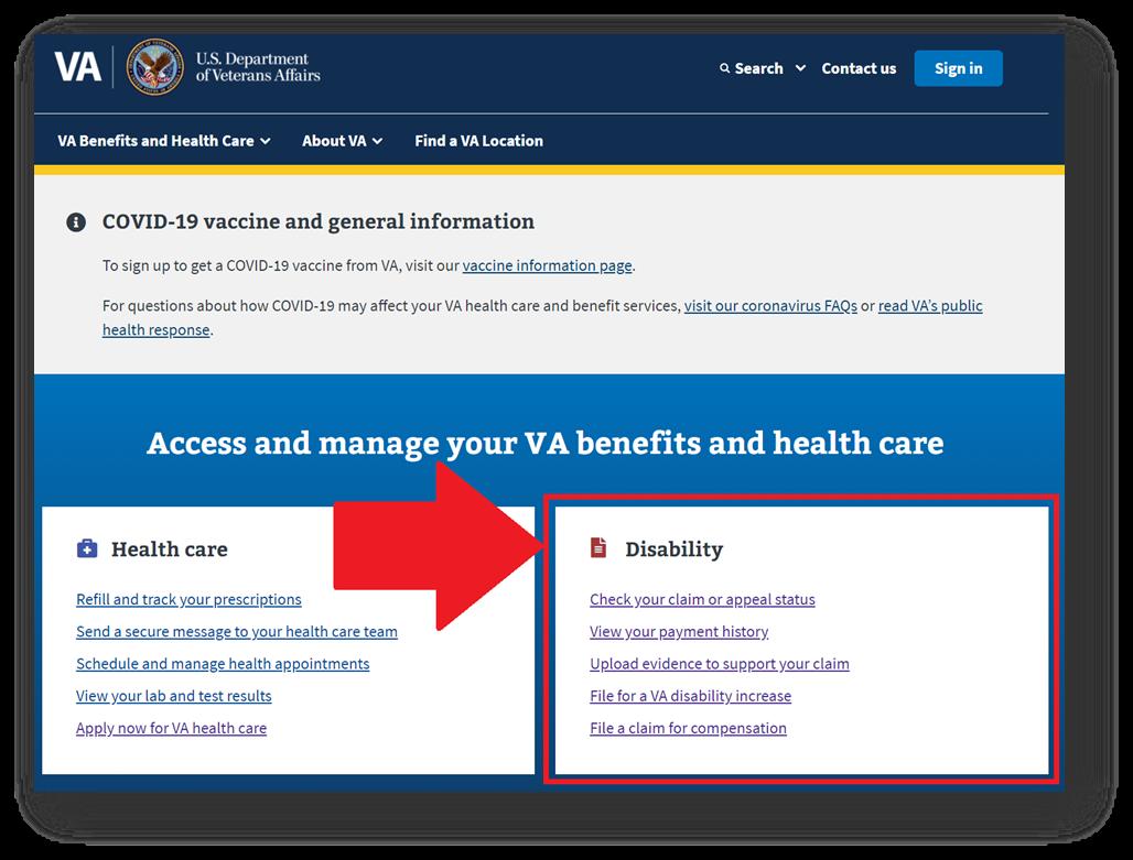 File a Claim on VA Website
