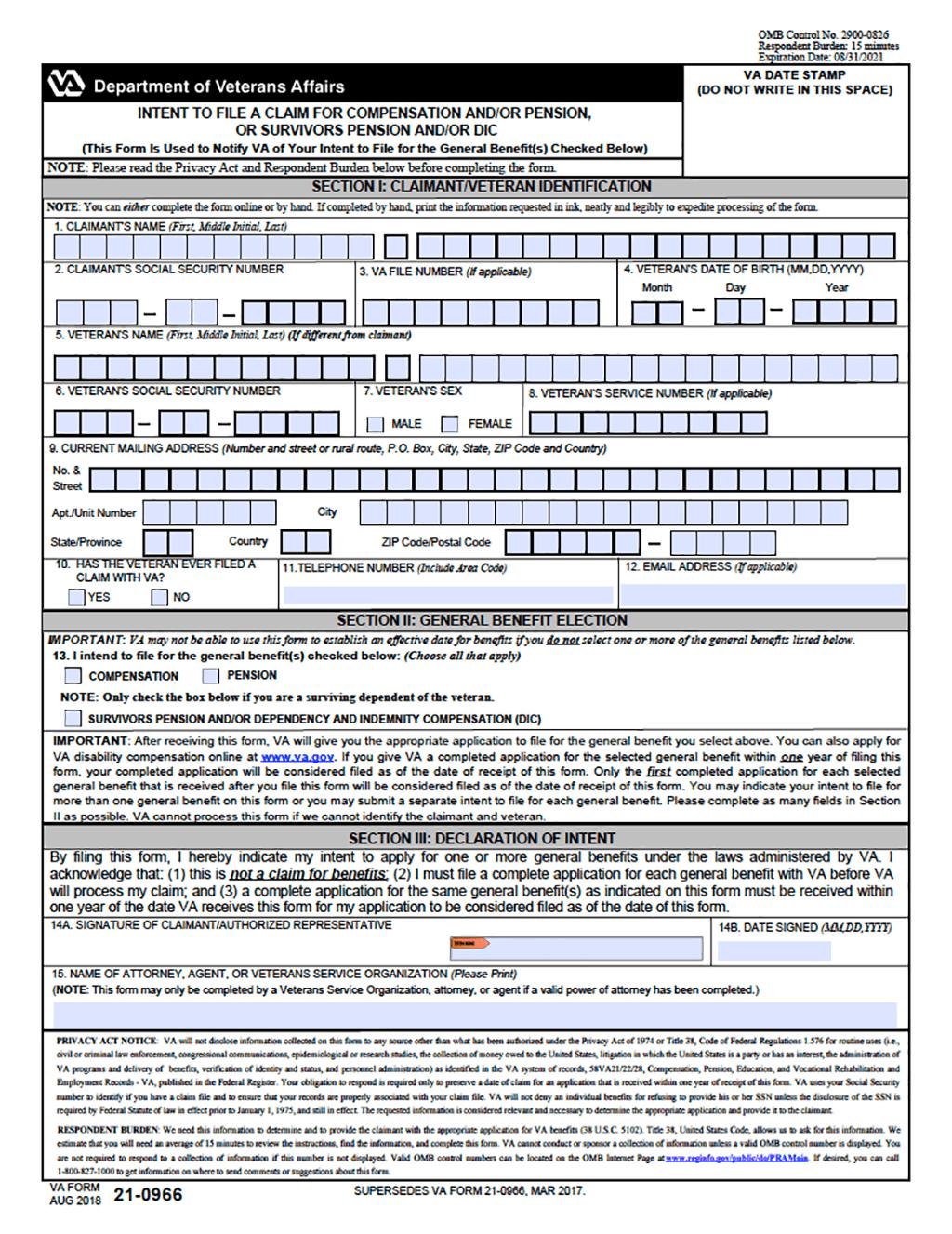 VA Form 21 0966